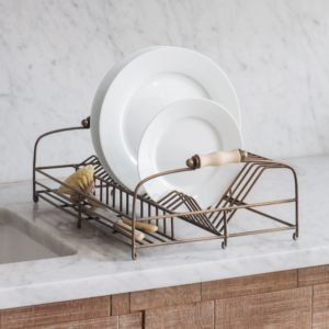 Brompton Dish Rack in Antique Brass Finish
