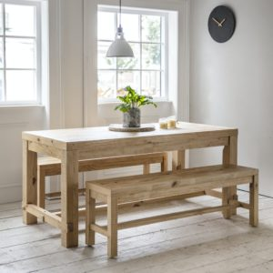 Brookville Table and Bench Set, Small - Pine