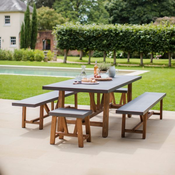 Chilson Table and Bench Set, Large - Cement Fibre Large