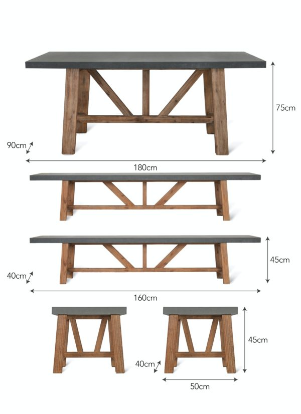 Chilson Table and Bench Set Acacia Wood small