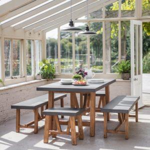 Chilson Table and Bench Set Acacia Wood small