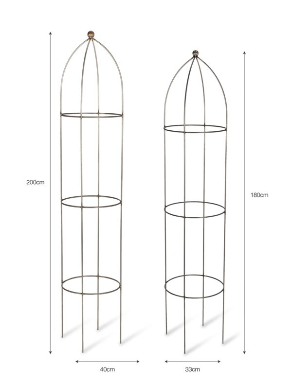 Set of 2 Barrington Obelisk Plant Supports - Raw Metal