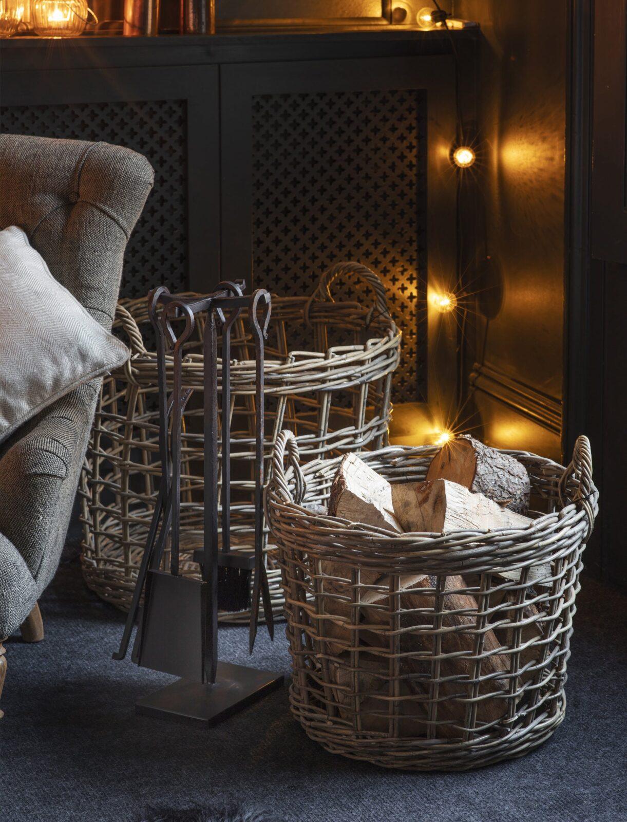Set of 2 Open Weave Baskets - Rattan