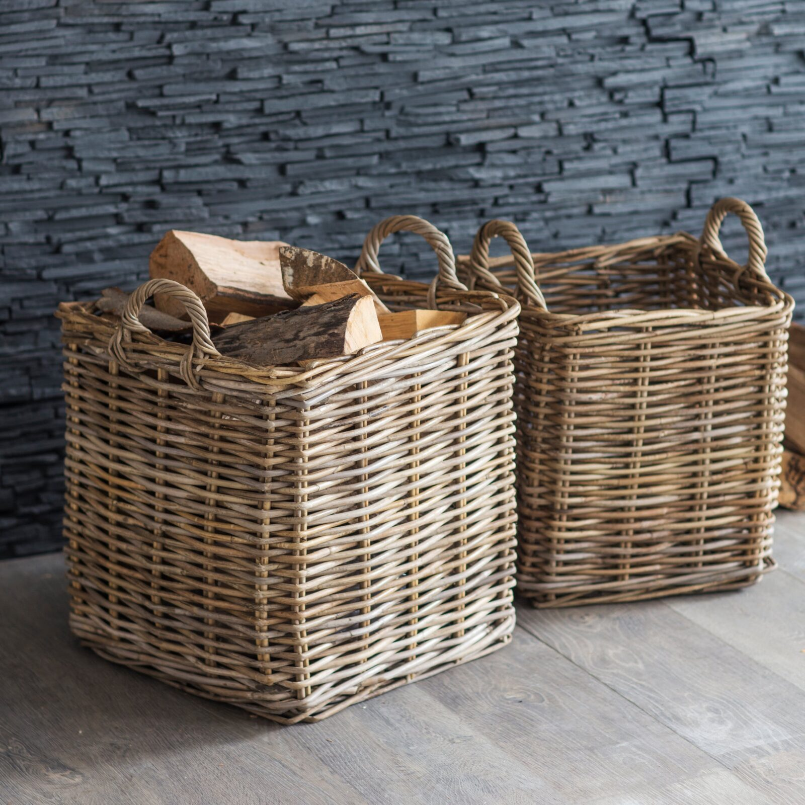 Set of 2 Square Baskets - Rattan