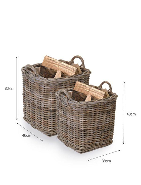 Set of 2 Square Baskets - Rattan