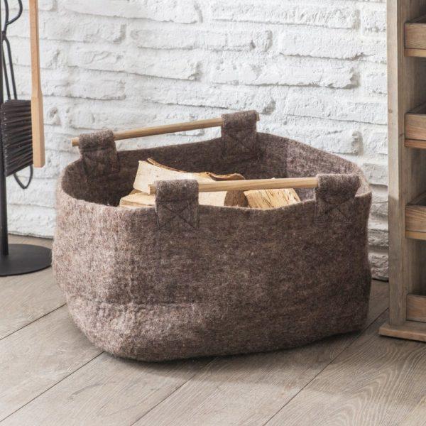 Southwold Basket with Wooden Handle - Felt