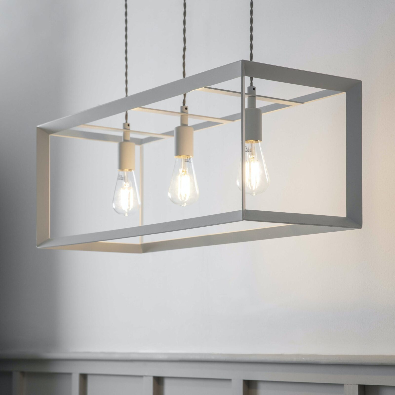 Brunswick Trio Pendant Light Powder Coated Steel Chalk