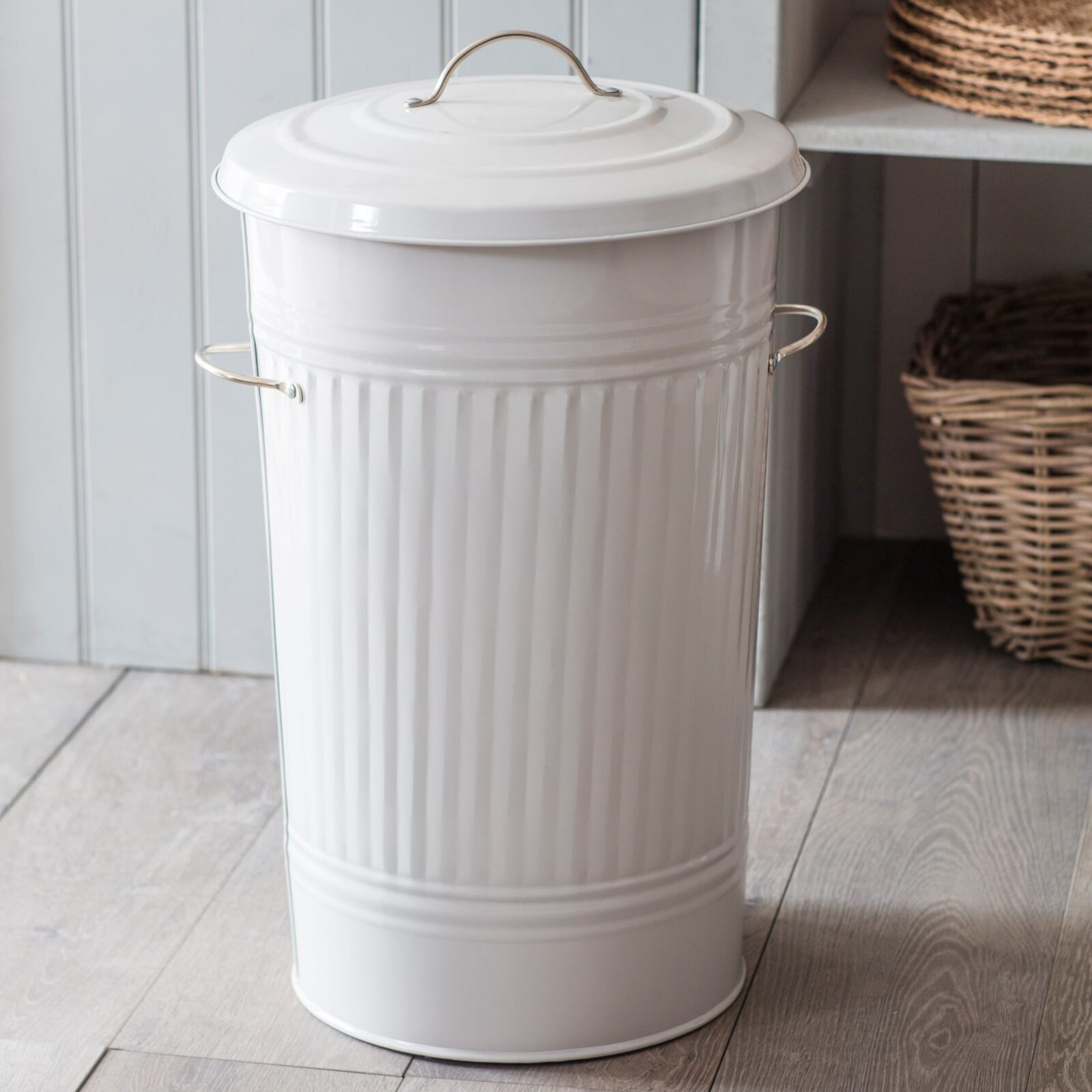 Kitchen Bin with Nickel Handles in Chalk - Steel