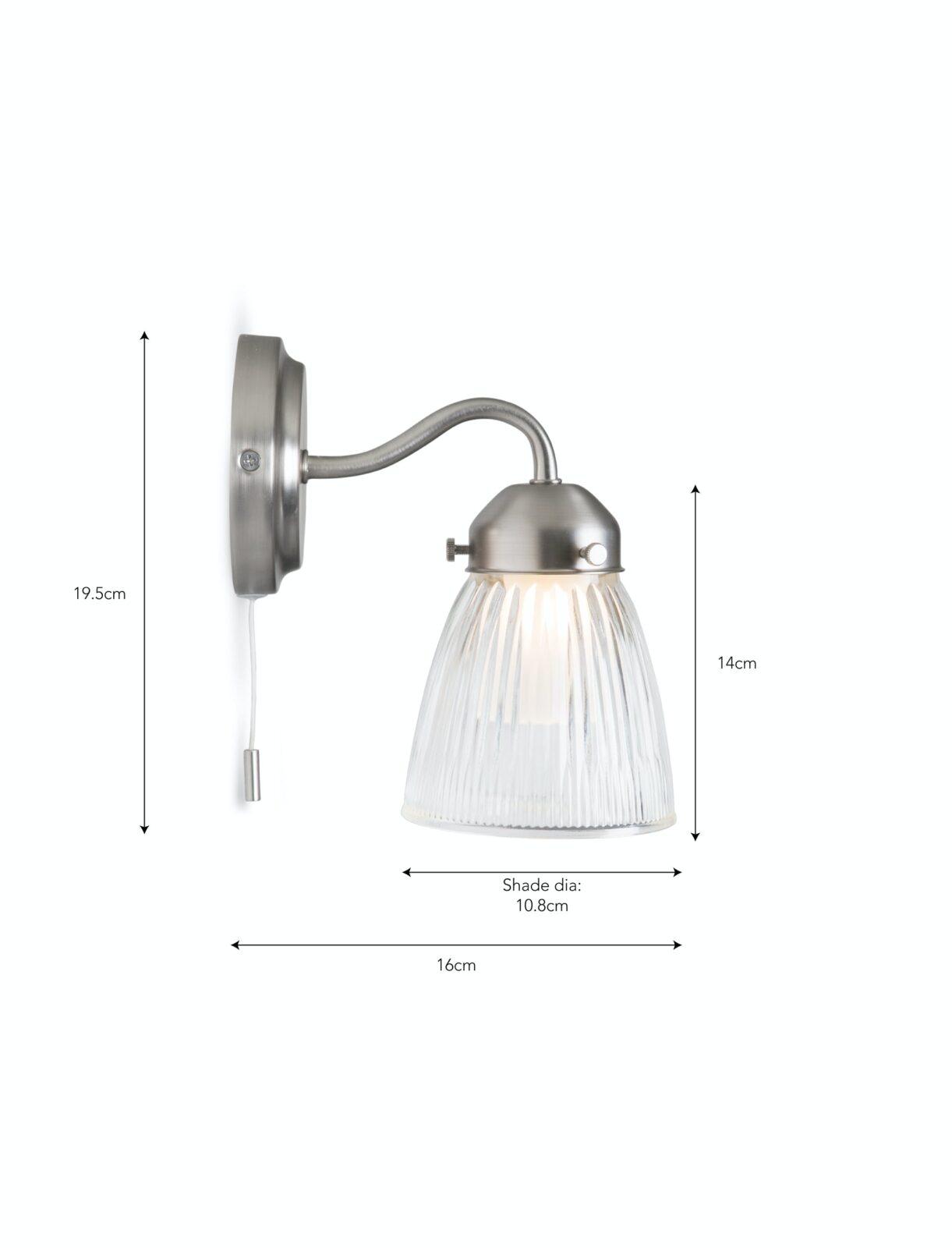 Pimlico Bathroom Wall Light Satin Nickel