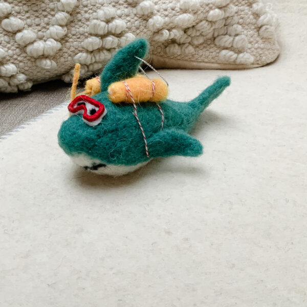 Hanging felt shark decoration