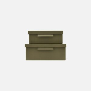 Pair of green Monograph boxes