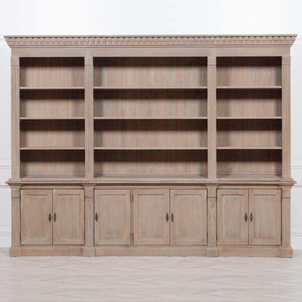 Extra Wide White Cedar Wooden Bookcase