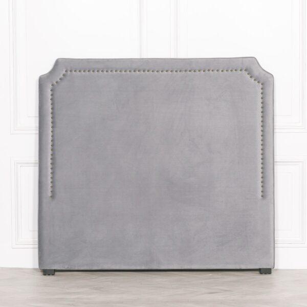 Grey Velvet 5ft King Size Headboard Upholstered